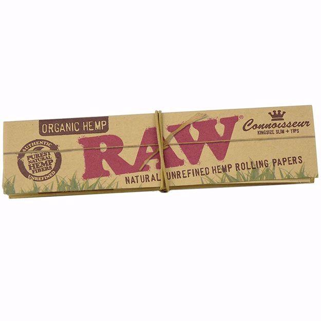 RAW ORGANIC HEMP CONNOISSEUR KING SIZE SLIM NATURAL UNREFINED ROLLING PAPERS + TIPS