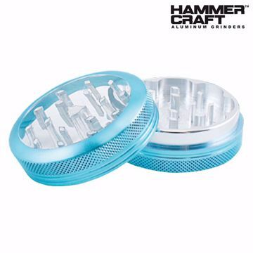 "HAMMERCRAFT ANODIZED BLUE CLEAR TOP ALUMINUM CNC 2.2"" GRINDER"