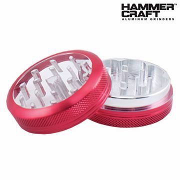 "HAMMERCRAFT ANODIZED RED CLEAR TOP ALUMINUM CNC 2.2"" GRINDER"